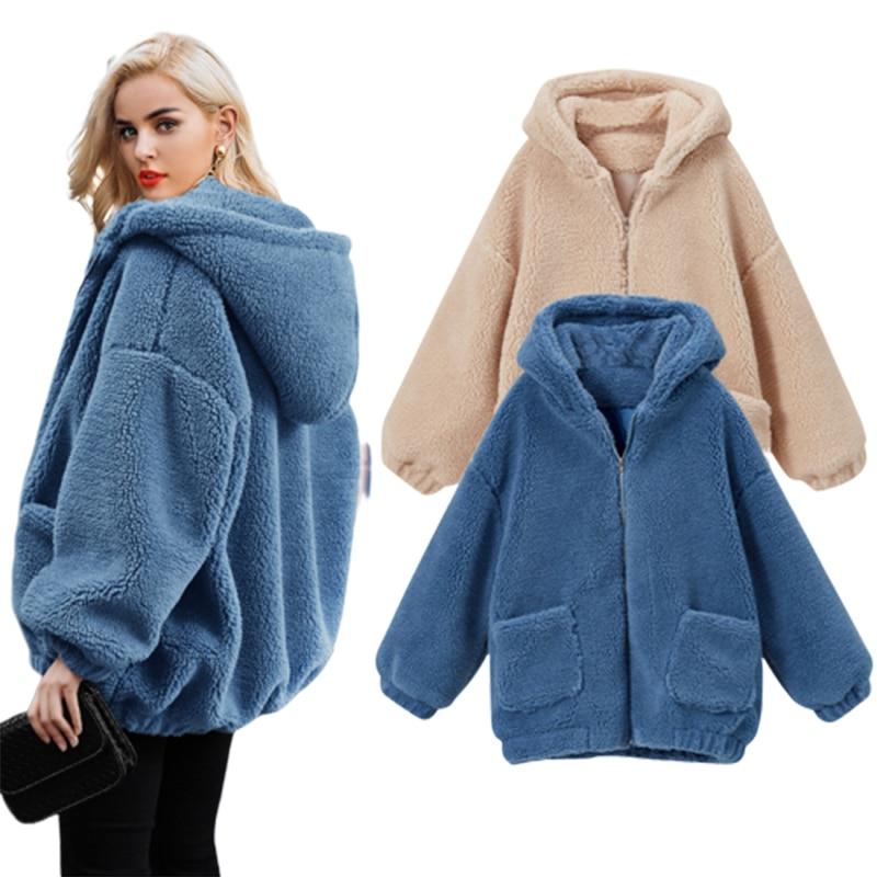 2019 Winter Fashion Lamb Wool Blends Loose Female Coat Woman   Basic     Jacket   Plus Size 6XL Streetwear Ladies   Jackets   Boyfriend