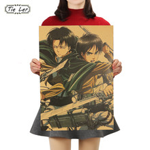 Attack on Titan B Style Japanese Cartoon Comic Kraft Paper Poster Wall Stickers Home Decor Painting 51.5x36cm(China)