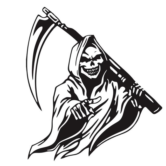 $ 3.84 Skull Decal Machine Gun D-1033 Zombie Harvester Skull Sticker Car Truck Wall Vinyl Sticker Grim Reaper