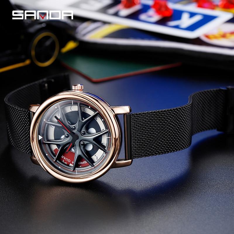 Image 4 - SANDA Top Brand Fashion Outdoor Men Watch Special Rotating Dial Wheel Watches Quartz Movement Gift Wristwatch Montre Homme 1025Quartz Watches   -
