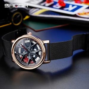 Image 4 - SANDA למעלה מותג אופנה חיצוני גברים שעון מיוחד מסתובב חיוג גלגל שעונים קוורץ תנועת מתנת שעוני יד Montre Homme 1025