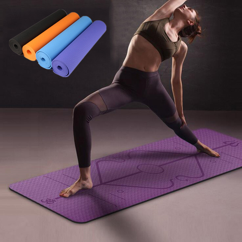 1830*610*6mm TPE Yoga Mat With Position Line Non Slip Carpet Mat For Beginner Environmental Fitness Gymnastics Mats Belt Blocks