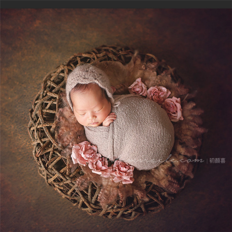 Baby Photo Props Natural Thick Vine Basket Posing Sofa Baby Accessories Newborn Hand-Woven Photo Bird Nest Newborn Fotografia