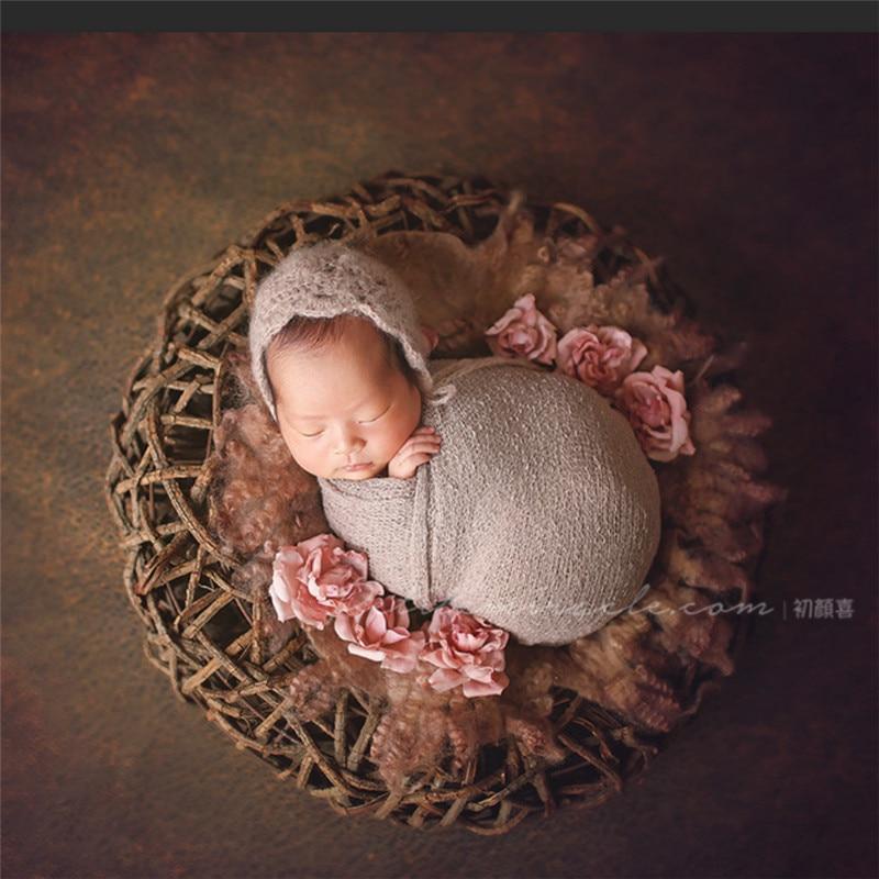 Newborn Photography Props Natural Thick Vine Basket Sofa Baby Accessories Newborn Hand-Woven Photo Bird Nest Newborn Fotografia