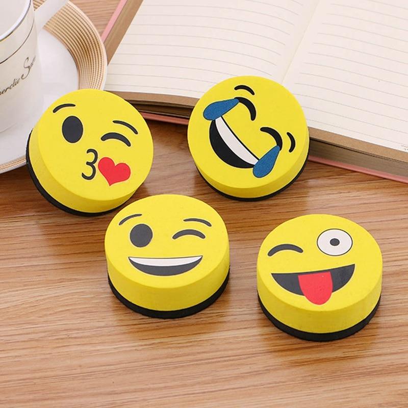 1Pc Yellow Smile Face Whiteboard Eraser Magnetic Board Erasers Wipe Dry School Blackboard Marker Cleaner 4 Styles Randomly Sent
