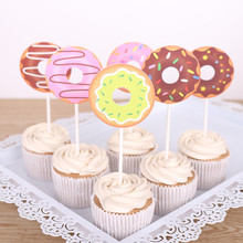 6Pcs Colorful Cake Toppers Donut Cupcake Baby Shower 1st Birthday Party Decoration wedding Supplies