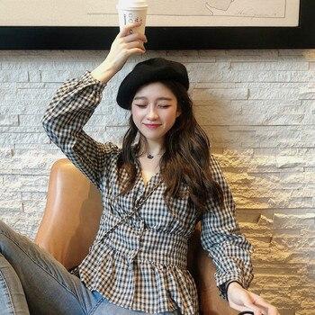 New V-neck Plaid Shirt Top Women Summer Lantern Sleeve Elastic korean blouses 2020 harajuku shirt lace applique lantern sleeve cold shoulder top