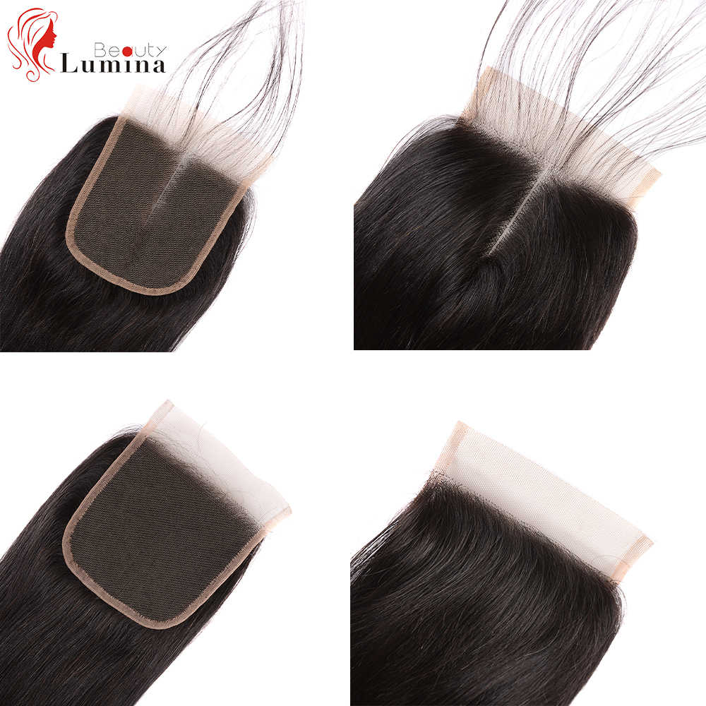 Straight Lace Closure Pre Plucked With Baby Hair Natural Hairline Brazilian Remy Human Hair 4x4 Closure Hair Beauty Lumina