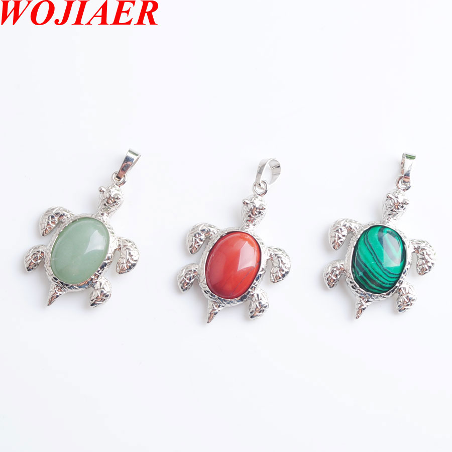 Turtle Natural Crystal Stone Oval Cabochon Beads Charm Necklace&Pendants Jewelry Cute Animal Gifts For Female WOJIAER PBN806