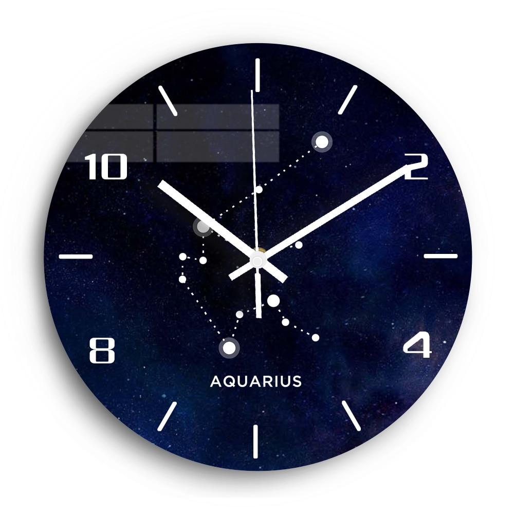 Aquarius Acrylic Wall Clock Modern Design Silent Clockwork Digital Wall Clock For Living Room Watch Home Decor Gift