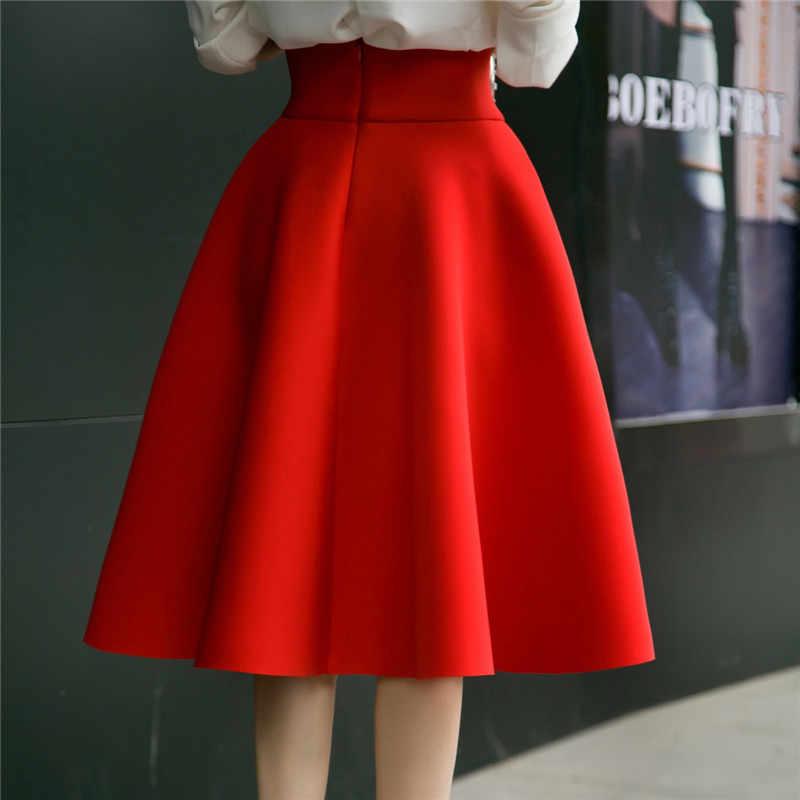 Clobee 6XL 5XL Plus Size Rok Hoge Taille Rokken Womens Wit Knielengte Bodems Geplooide Rok kilt Saia Midi faldas mujer