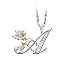Crystal Zircon 26 Letters Flower Fairy Necklaces For Women Lovely Wing Pendant Necklace Jewelry