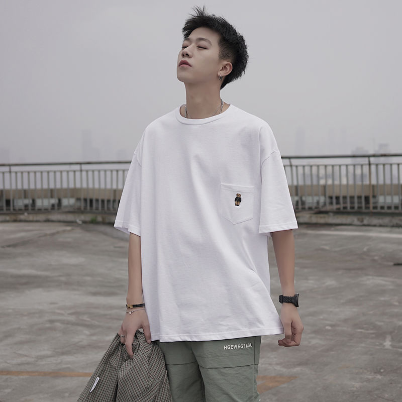 Mens T-shirt Short Sleeve 2020 Summer T Shirts Fashion Pure Color Black White T Shirt Men Tops Tees Fashion Men T Shirts Summer