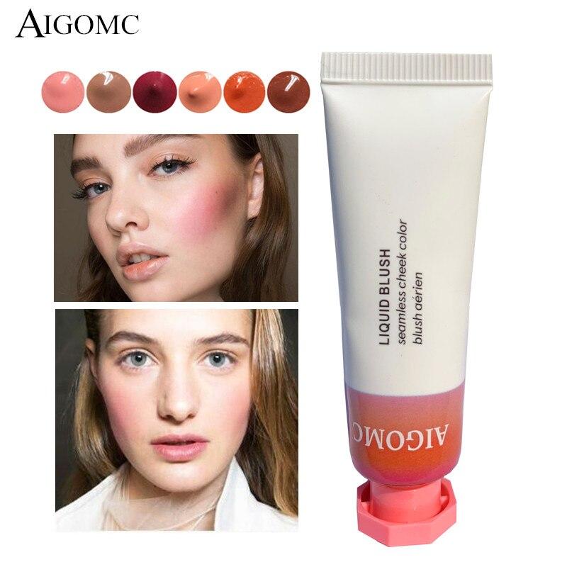 AIGOMC Makeup Liquid Blusher Sleek Silky Cloud paints Blush Lasts Long 6 Color Natural Cheek Blush Face Contour Make Up 6PCS