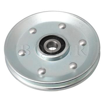 BQLZR 90x10mm Silver V-Shape Iron Bearing Steel Cable Wheel Bearing Idler Pulley