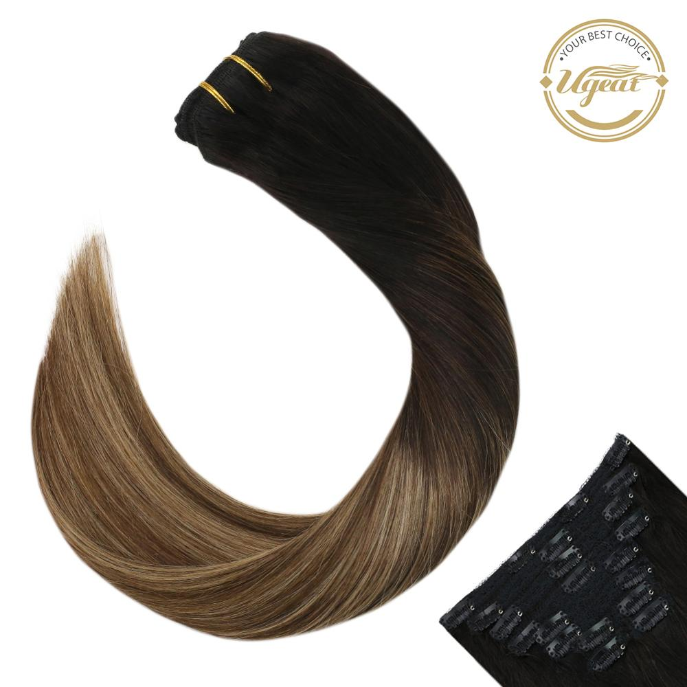 Ugeat Clip in Real Hair Extensions Color #1B/4/27 Balayage Clip in Human Hair 14-22