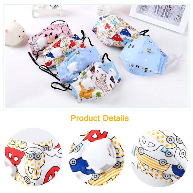PM2.5 Children Face Mask Kids Cotton Mouch Mask Child Anti Dust Mascarillas Non-woven Fabric With Breath Valve Unisex Reusable 2