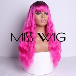 Image 2 - MISS WIG, длинные волнистые парики для черных женщин, афро американские синтетические волосы, серые, коричневые парики с челкой, термостойкий парик