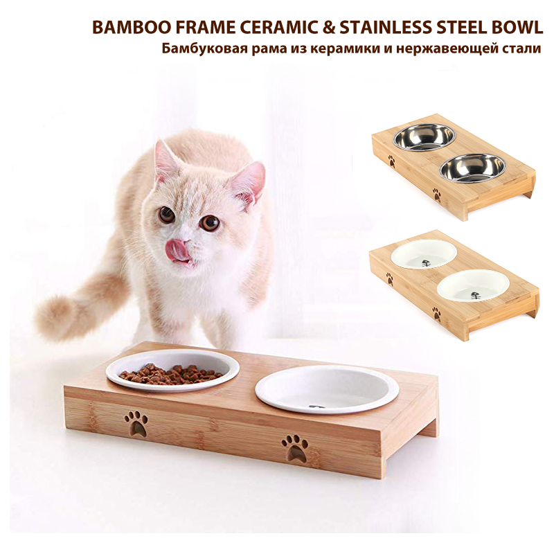 New Double-Layer Pet Stainless Steel / Ceramic Feeding Bowl With Bamboo Frame Cat Bowl Dog Food Tray Feeder миска для кошки