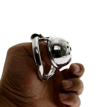 Urządzenie Micro Chastity ze stali nierdzewnej mały rozmiar Cock Cage z w kształcie łuku Cock Ring Sex zabawki mężczyźni Chastity Belt BDSM zabawka tanie i dobre opinie CN (pochodzenie) STAINLESS STEEL MKC116 Chastity Cage For Men Chastity Devices manual polish