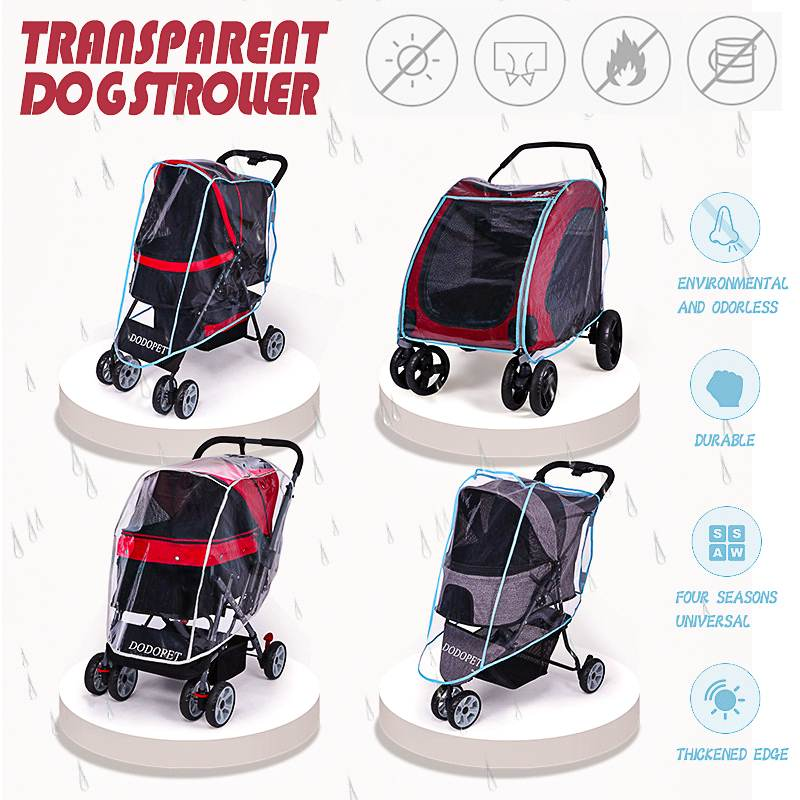 Outdoor Pet Carrier Stroller Cover for All Kind Dog Cat Cart Transparent Wind Rain Proof Cover for Pet Baby Cart Jogger Stroller