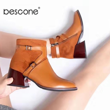 BESCONE Round Toe Women Mid-Calf Boots Winter Handmade Brown Zipper Square Heel Shoes Comfortable Round Toe Ladies Boots BY334 2015 winter autumn new arrive rhinestone mid calf boots women side zipper fashion round toe square heels shoes size 33 43 r974