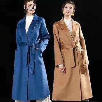 Moda tendencia mujeres 100% lana Real x-long prendas de vestir exteriores talla grande de estilo coreano diseño de onda Cardigan lana abrigos con