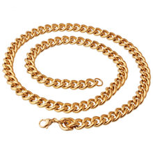 "9mm Fashion Customized 316L Stainless Steel Gold Tone Cuban Link Chain Mens Womens Necklace Or Bracelet Jewelry 7-40"" Hotsale(China)"