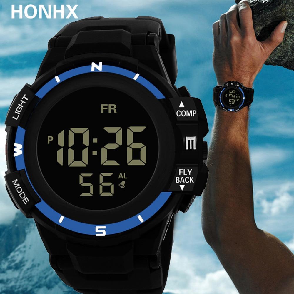 Часы наручные Zegarek мужские электронные, спортивные водонепроницаемые с цифровым светодиодный ным дисплеем и будильником, с датой