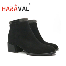 HARAVAL Ankle Boots Women Kid Suede Work & Safety Short Plush and wool high quality Warm Boots Free shipping Black Thick HeelD31
