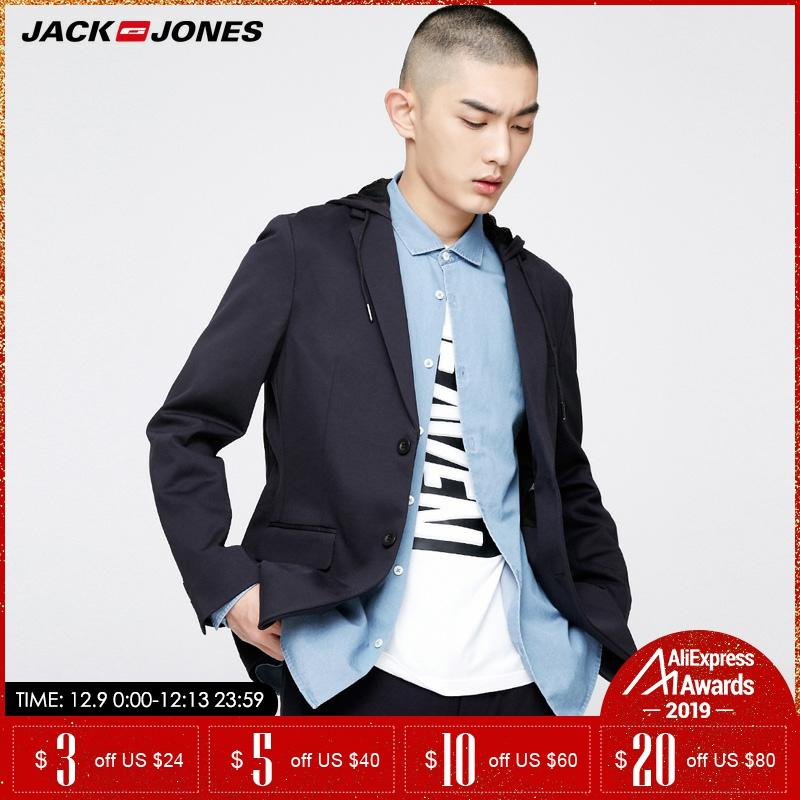 Jack Jones Brand 2019 NEW Detachable Hooded Slim Solid Color Double Breasted Long Sleeves Male Blazers |217108526
