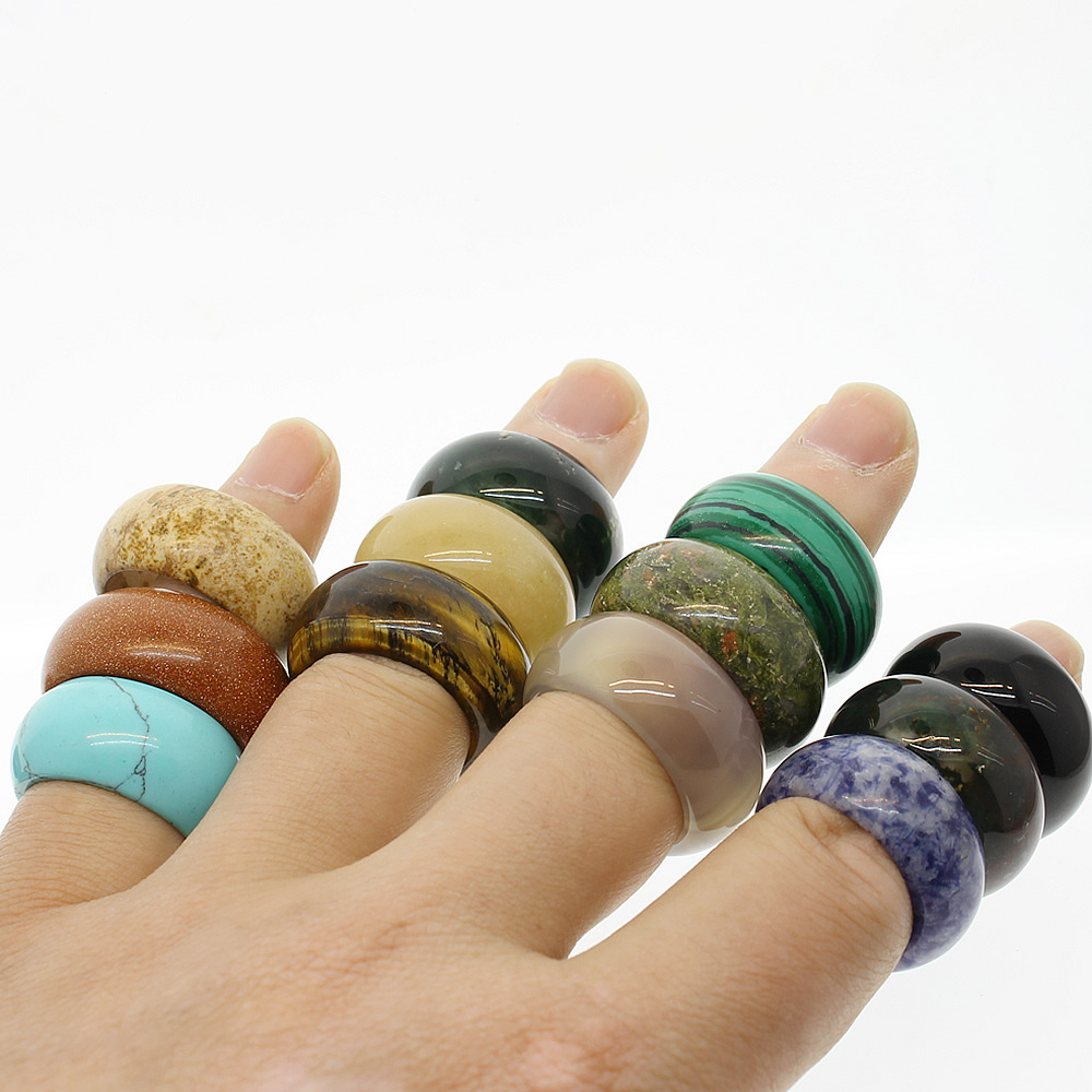 1pc Natural Semi-precious Stone Crystal Agates 12mm Ring Women Jewelry Attractive Texture Gem stone Individuality Unisex Rings