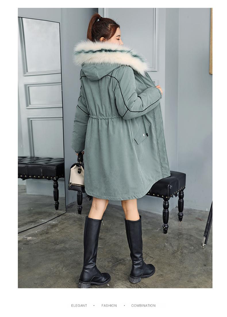 -30 градусов новый 2019 Для женщин зимняя куртка с капюшоном и меховой воротник Женская зимняя обувь Пальто Длинные парки с Меховая подкладка п... 28