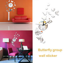 3D Mirror Clock Home Decor Wall Stickers Wallpaper Wall Clock Sticker Silver Butterflies Acrylic Mural Bedroom Self-Adhesive(China)