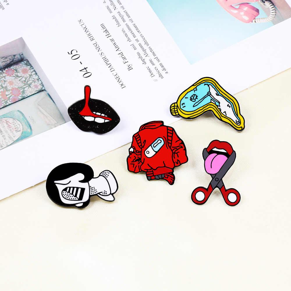 נשים סיכות גלולת בגדי לשון שפות בציר שעון ילדה אמייל סיכות ינס חולצה מעילי דש תגי סיכת פאנק תכשיטי מתנות