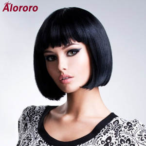 Bob Wig Short Alororo Black Synthetic Straight Women Natural for High-Temperature Fibre-Daily-Available