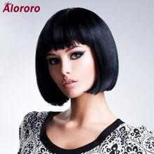 Alororo – perruque bob synthétique courte et lisse pour femmes, en fibre de haute température, disponible quotidiennement, perruque de Cosplay noire naturelle