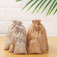 1 шт., подарочные сумки из натуральной мешковины hesasia, джутовые, хлопковые, простые, на шнурке, мешочек для конфет, органайзер, льняные мешки для хранения еды, вечерние, принадлежности