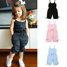 Kinder Sommer Kleidung 1-6Y Kleinkind Baby Mädchen Voll Body Bib Hosen Sleeveless Overalls Outfits Cropped Overalls