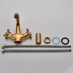 Image 5 - Robinet de salle de bain en laiton massif doré robinet de lavabo robinet mitigeur monté sur pont eau chaude et froide