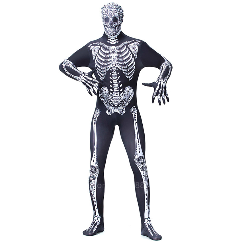 Zombie Scary Skeleton Vampire Unisex Anime Cosplay Halloween Costume For Men Spooky Fancy Robe Carnival Party Ghost Horror Fancy