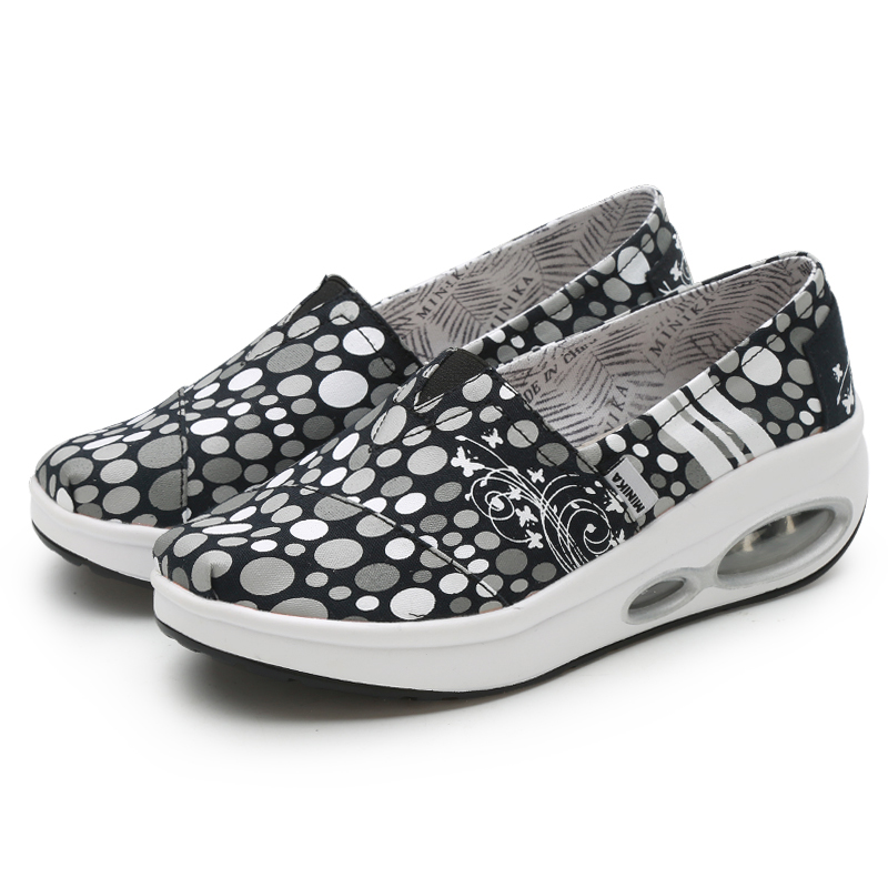 Women Toning Shoes Sport Flat Slip on Ladies Height-Increasing Wedge Heel Sneakers Outdoor Women Canvas Thick Sole Trainers