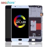 100% ORIGINAL Für OnePlus 3 LCD Touch Screen Digitizer Montage Für Oneplus 3 Display mit Rahmen Ersatz 1 + 3 LCD A3000 A3003