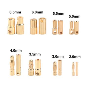 50 pairs  Bullet Connector Plug 2.0/3.0/3.5/4.0/5.5/6.0/6.5mm Battery Connector Green Gold Plated Stereo Plug Banana Head 10pair 4mm gold plated bullet banana socket male female banana connector model battery plug
