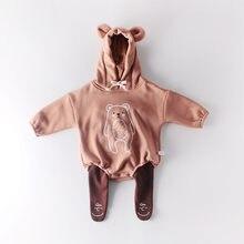 Milancel 2020 inverno engrossar forro do bebê bodysuits design da caixa de algodão macacão do bebê com capuz pouco crianças roupas