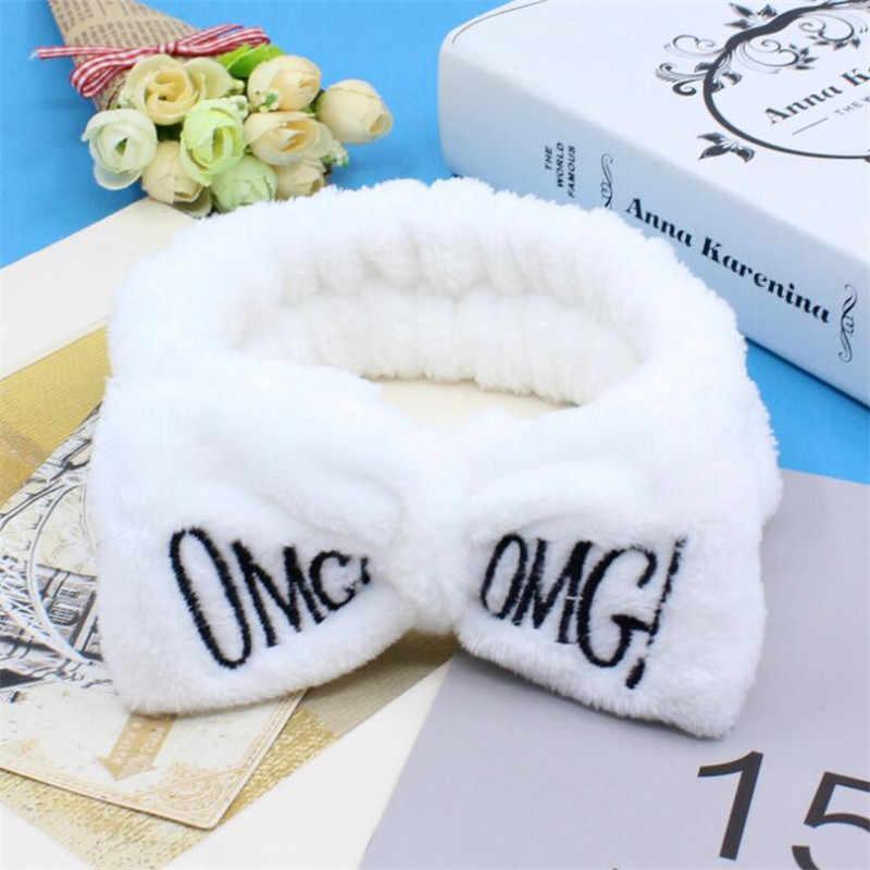 Nuevas diademas de lazo de lana suave Omg Coral con letras para mujeres y niñas, bonitas diademas para el cabello, accesorios para el cabello