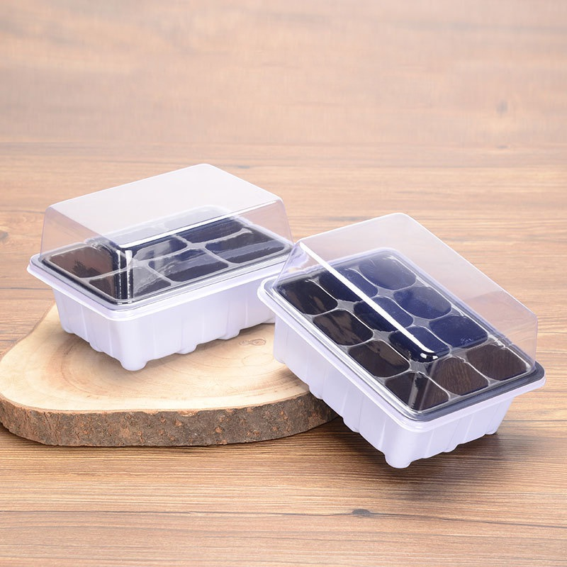 6/12 Cells Nursery Pot Planting Seed Tray Kit Plant Germination Box with Lid Garden Seeds Starting Grow Boxes for Plants