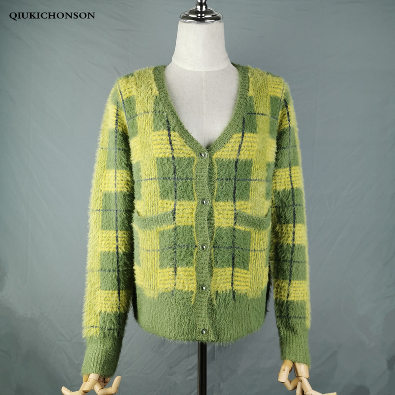 Vintage Synthetic Mink Cashmere Sweater Women Harajuku Lazy Style Ladies V-Neck Button Up Cropped Fuzzy Plaid Cardigan Knitted