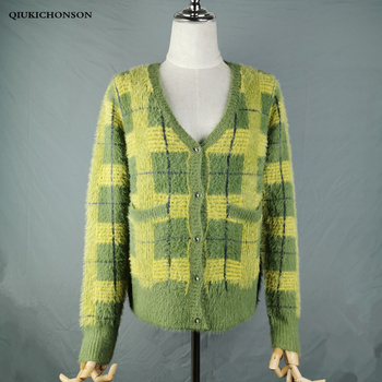 Vintage Synthetic Mink Cashmere Sweater Women Harajuku Lazy Style Ladies V-Neck Button Up Cropped Fuzzy Plaid Cardigan Knitted v neck belt button up waistcoat