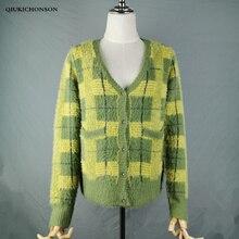 Vintage Synthetische Nerz Kaschmir Pullover Frauen Harajuku Faul Stil Damen V ausschnitt Taste Up Cropped Fuzzy Plaid Strickjacke Gestrickte